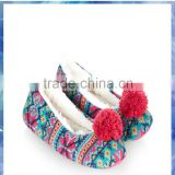 Fairisle pompom ballerina ladies flat slipper,ballet slippers wholesale,platform shoes
