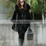 2016 New Fashion Winter Fur Collar Women's Long Coat Luxury Cape Poncho Hooded Fur Jacket Black Size S,M,L .XL