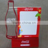 creative promotional logo promotion products eco-friendly acrylic sign holder with coca-cola bottle shape