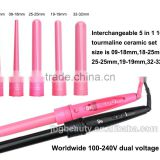 Curling Iron with 5 barrels hair curlers hair straightener aliexpress hair machine weaving with LED with 5 barrels