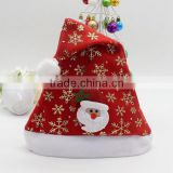 China suppliers set of 3 polyester Xmas cap wool Felt Christmas hat with snowflake Santa Claus snowman reindeer for newborn