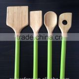 Hot Bamboo Kitchen Tools With color Silicone Handle