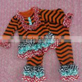 Newest Design Baby Persnickety Halloween Outfit Trendy Children Orange/Black Chevron Shirts & Halloween Ruffle Pant Set for Girl
