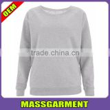Cheap Custom Blank Cotton Polyester Combed Slim Fit Crewneck Raglan Shoulder Underwear women Sweatshirt