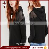 Net yarn splicing shoulder women 100% cotton plain black hoodie