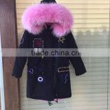 2016 New arrival Britain Beading Dark blue jacket long with pink faux fur inside women jakcet and man coats