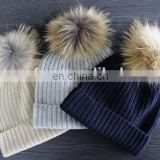 Factory wholesale 91colors knitted cashmere raccoon fur bobble beanie hats