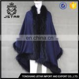 Various Styles New Design China Cappqtto And Faux Raccoon Cashmere Fur Trim Cape Womens Capes On Sale