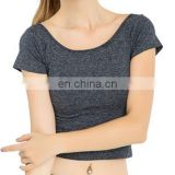 High Quality New Style Cotton Spandex Custom Fabric Womens Slim Fit Crop Top Tshirts