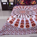 White Mandala Duvet Covers Ethnic Queen Size Cotton Quilt Cover Throw Handmade Blanket Cover