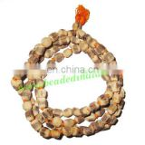 Real tulsi sacred-auspicious wood beads mala-string of 108 beads, size: 7x9mm