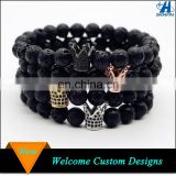 Hot Sale Rhinestone King Crown Charm Black Natural Lava Stone Bead Bracelet