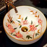 Modern new round hand draw flower ceramic wash sink