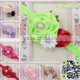 hot selling baby Christmas hair accessories ribbon flowers rose flower elastic headband MY-AB0047