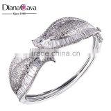 Exclusive Design Alibaba com Baguette Cut CZ New Bridal Jewelry Leaf Shape Bangle