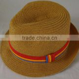 Fashion Brown Paper Straw Fedora Hat With Competitive Price