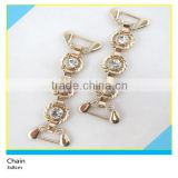 Round Gold Metal Base Rhinestone Setting Chian for Clothing Decoration 3x8cm