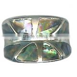 Silver Tone Band Ring with Multi colored Paua Shell Hand Made Ring Paua Abalone Shell Size 9