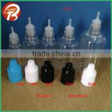 10ml 15ml 20ml 30ml 50ml empty plastic clear PET e liquid bottle with three holder tips&childproof cap engraved triangle sign