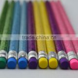 "7"" HB round pencil glitter colorful pencil with color erasers"