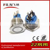 22mm diameter stainless steel anti vanda ringl Blue 120v LED illuminated momentary push button switches