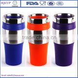 16oz prettey auto mug plastic and stainless steel auto tumbler insulated camping mug for traveling