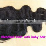 Dyeable and Bleached Knots, Wholesale Price Body Wave, Middle Parting, Peruvian hair lace front closure, made in China