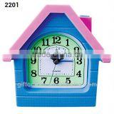analog house shape plastic snooze desk alarm clock