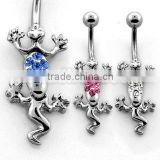 Steel and crystal moving lizard navel ring