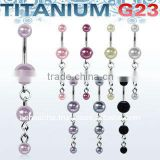 Titanium G23 belly banana bar, 14g (1.6mm) with 5 & 8mm faux pearl balls and double dangling pearls