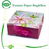high ending custom printed book shape rectangle gift color cardboard paper box with silk ribbon to tie