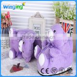 Factory supply soft purple teddy bear indoor fleece slipper animal plush bedroom slipper