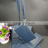 blue pu leather neck passport holders