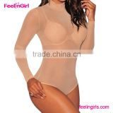 Women Nude Sexy Long Sleeve Translucent Teddy