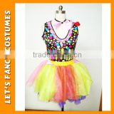 PGWC0107 Carnival funny cosplay costumes adult female colourful clown style costume for carnival festival