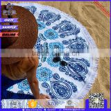 aztec cotton colorful bohemia printed extra large custom printed round beach towel with tassels