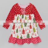 Online Shopping Red White Dot Print Christmas Tree Design Fancy Baby Girl Dress Z-GD80724-20