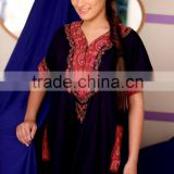 New stylish navy blue Embroidered kaftans / indian embroidered polyester kaftan / arabic kaftan