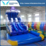 Barry New blue octopus inflatable water slide with pool , Seaworld giant water pool slide
