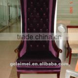 Hotel lobby King chair wood high back sofa for sale
