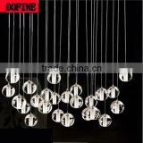 Modern Hanging Crystal Glass Bulb Led Ceiling Light crystal LED pendant lamp with Remote Control