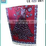 Korean new design gradient color fashion printed shawl peacock scarf