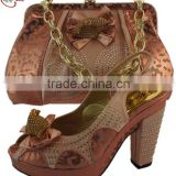 CSB5112 Peach red silver blue Africa Sexy ladies shoes matching bag fashion shoes women purse