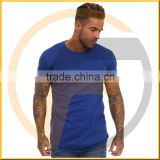 Blue Long Line Fit men cotton plain basic T-Shirt longline t shirt wholesale cheap price