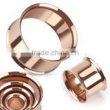 Hand Polish Rose Gold Plate Surgical Steel Double Flare Ear Tunnel Plug Body Piercing Jewelry