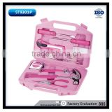 101pcs Pink tool set for lady used mechanic kits 2pcs screwdrivers 6'' adjutable wrench and long nose plier