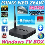 2016 newest stable box ! MINIX NEO Z64 Window8.1 ott tv box with Bing 2gb ram 32gb rom hd media player internet tv set top box