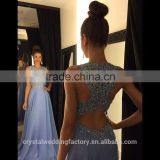 Sexy O Neck A Line Ombre Chiffon Lace Beaded Long Prom Dresses 2016 Backless Court Train robe de soiree Dress LP09