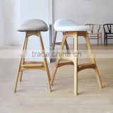 2016 wholesale furniture modern wooden erik erik buch solid wood bar stool high chair leather seat