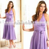 2013 Halter Short Chiffon Sash Bridesmaid Dresses ED1360